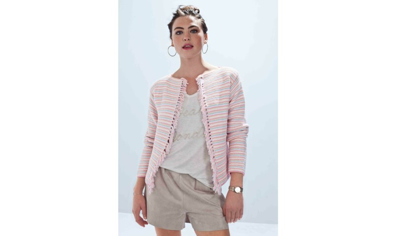 Tricot : la veste rayée à franges