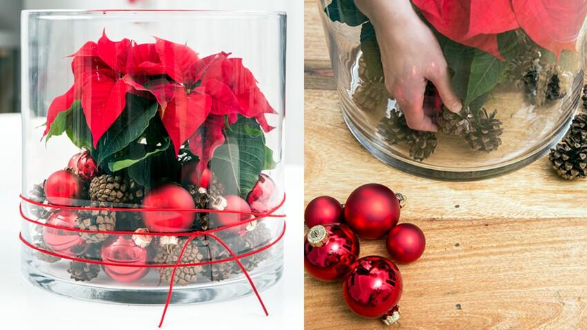 Un vase décoré pour ma table de Noël