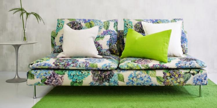 Canapé IKEA : une nouvelle housse fleurie