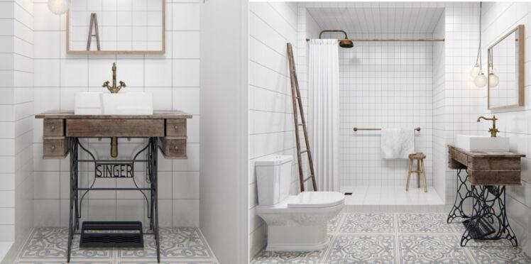 Déco de salle de bains : 10 meubles anciens détournés en plan vasque