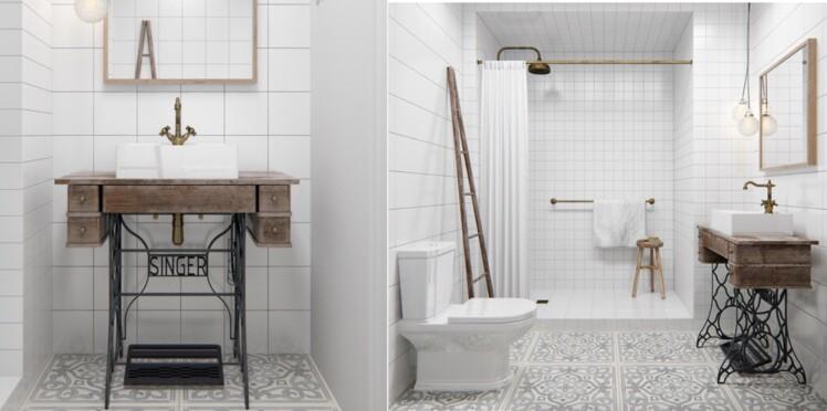 Déco de salle de bains : 10 meubles anciens détournés en plan vasque ...