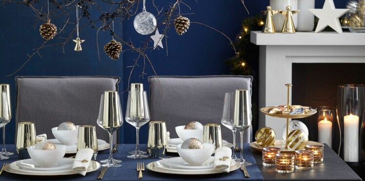Deco de table de Noël : nos inspirations pas cher bleu, or, chic et nature