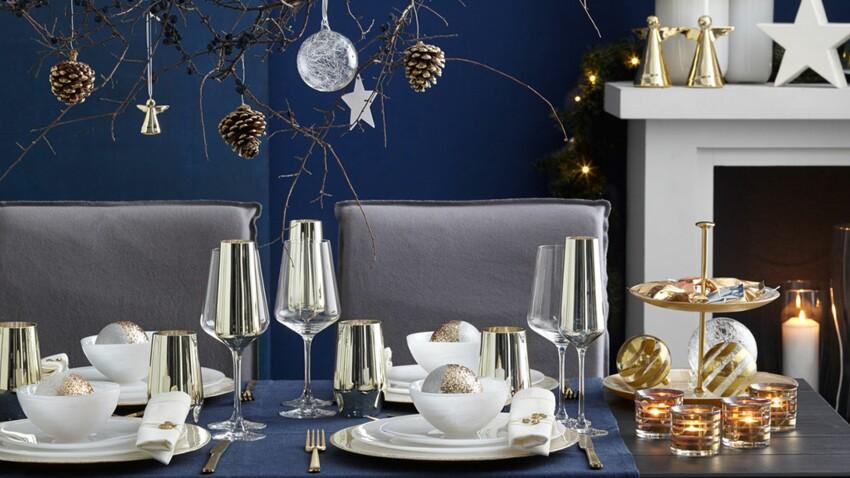 Deco de table de Noël : nos inspirations pas cher bleu, or, chic et nature