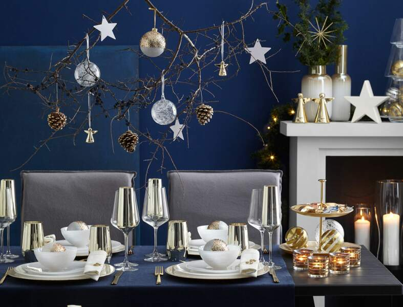 Table de Noël en bleu