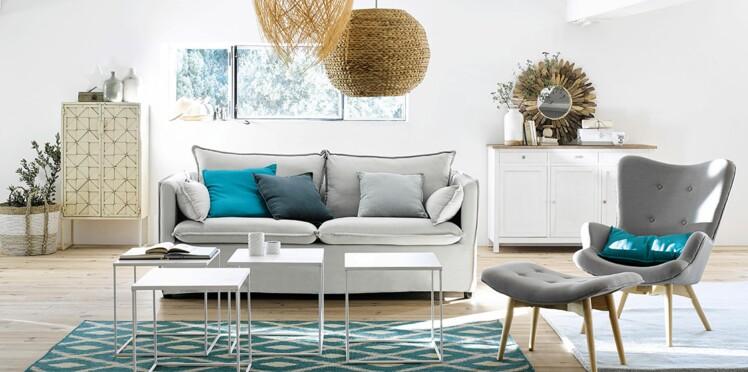 nos id es d co pour un salon bord de mer femme actuelle le mag. Black Bedroom Furniture Sets. Home Design Ideas