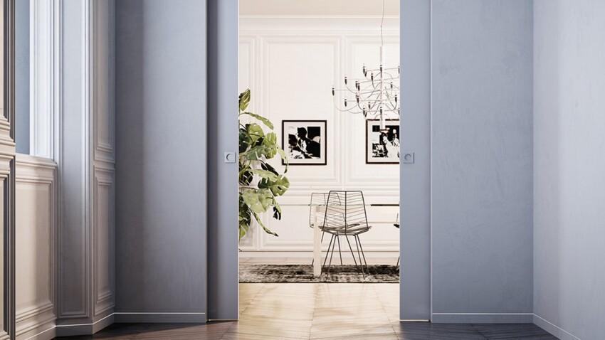 Zoom sur la porte à galandage, coulissante dans le mur