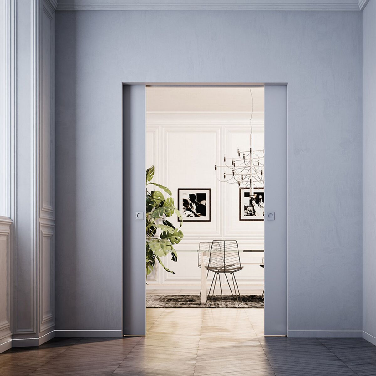 Porte Cuisine Montée Sur Cadre zoom sur la porte à galandage, coulissante dans le mur