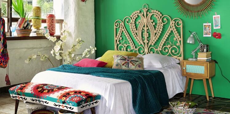 une d co de chambre style boh me femme actuelle le mag. Black Bedroom Furniture Sets. Home Design Ideas