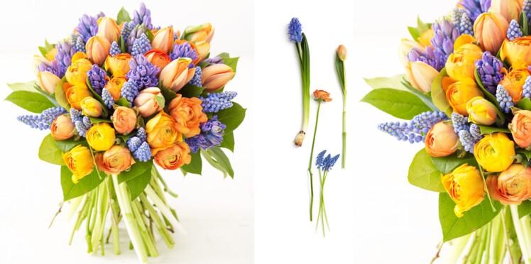 Faire un bouquet printanier : tulipes, jacinthes et renoncules
