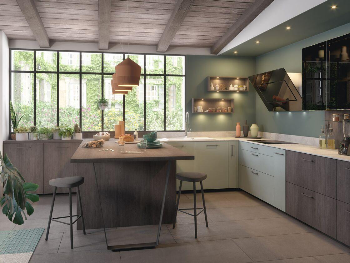 D co de cuisine vintage en couleur en bois quel style adopter femme actuelle le mag - Modele cuisine castorama ...