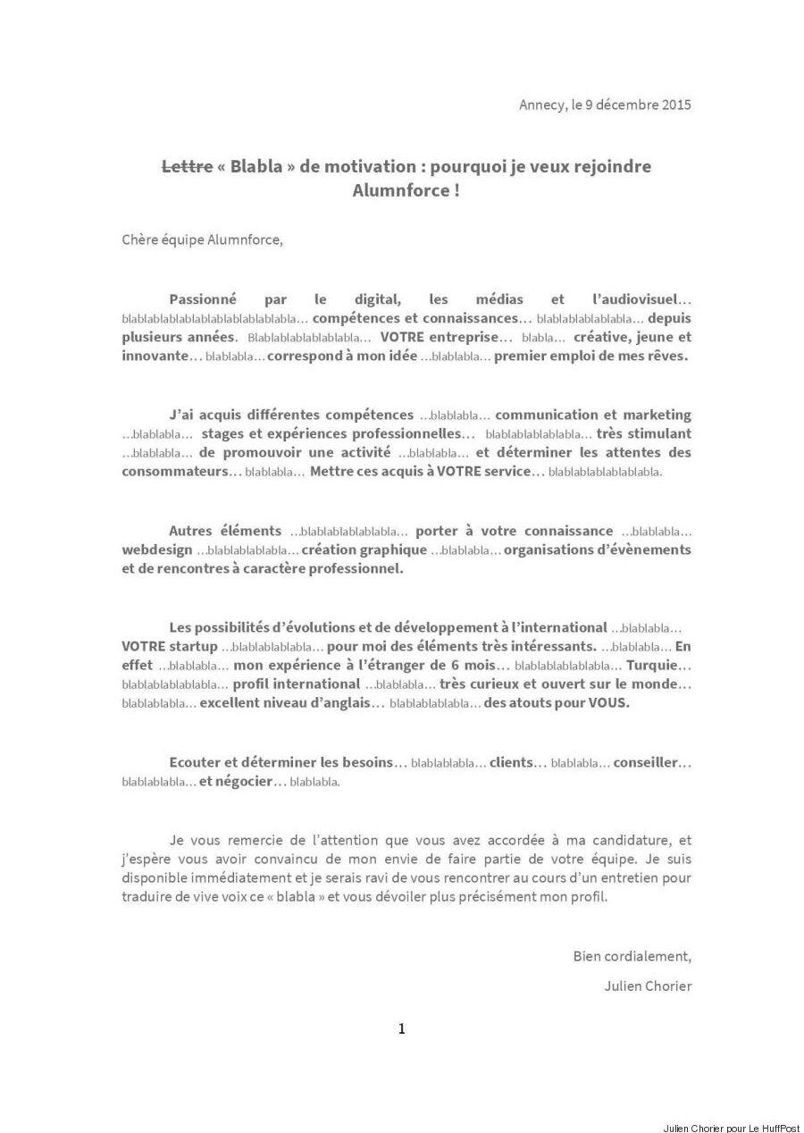 Un Jeune Diplome Ecrit Blablabla Dans Sa Lettre De Motivation Et