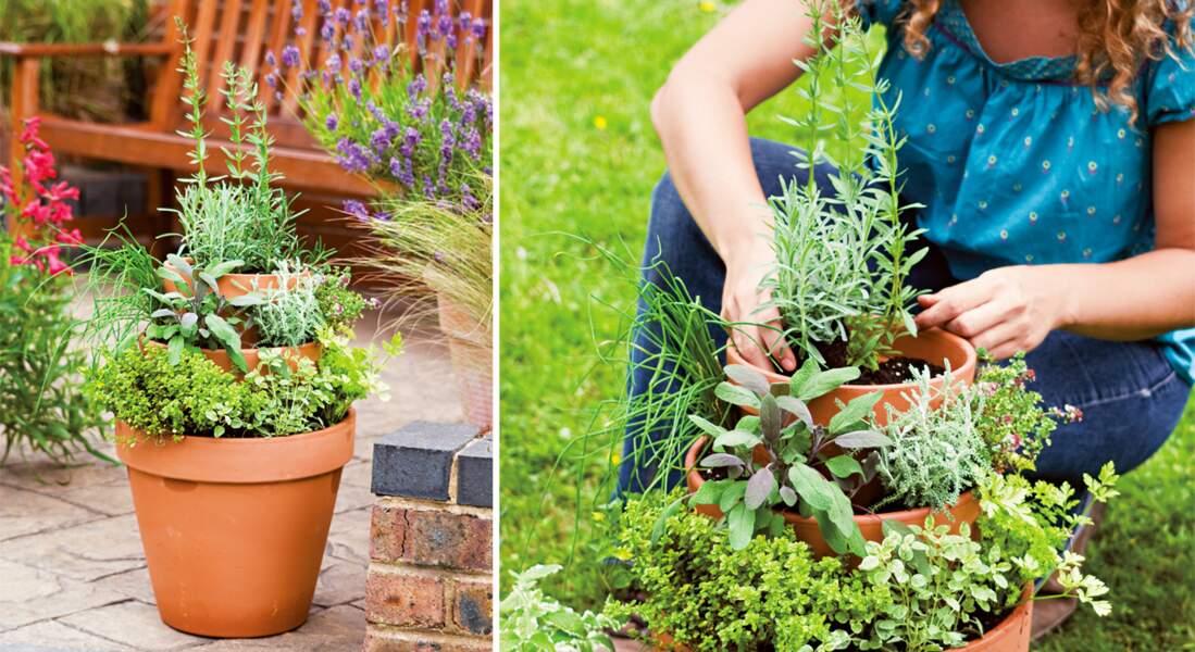 Jardiner avec les enfants : une pyramide d'aromatiques