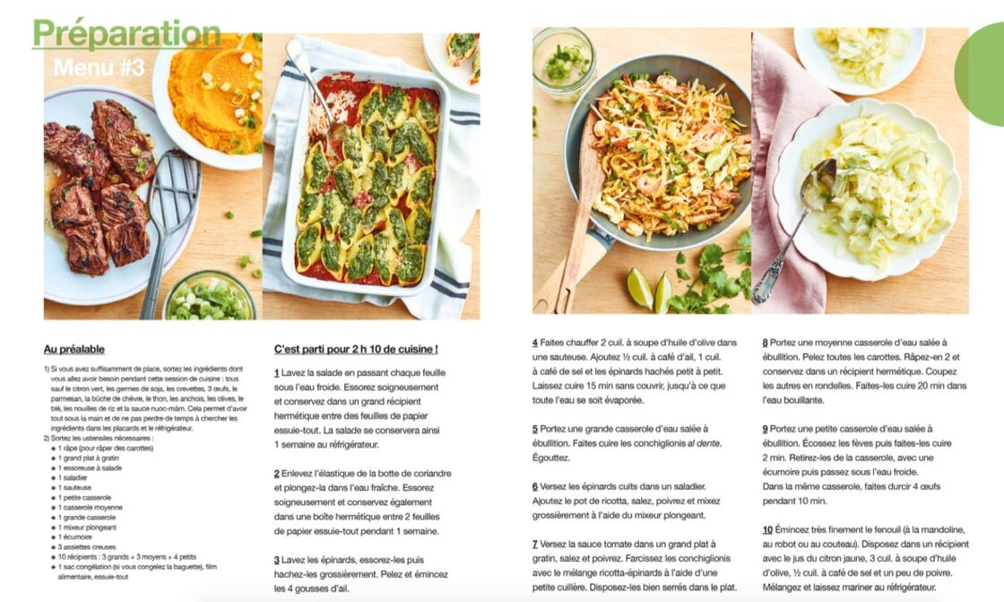 recette de cuisine pour la semaine