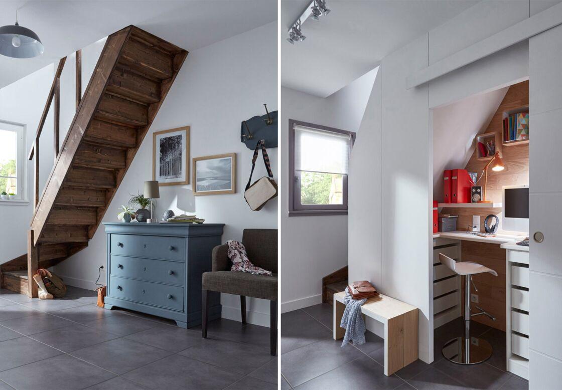 Escalier Dans Un Salon avant/après : aménagements gain de place au salon : femme