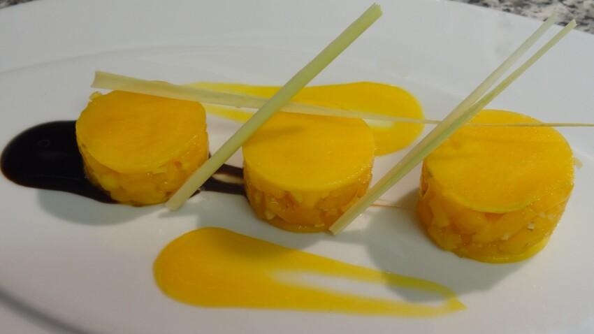 Ravioles de mangue au gingembre, citronnelle et vinaigre balsamique