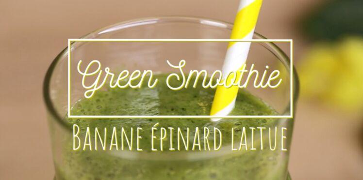 Green smoothie : banane-épinard-laitue