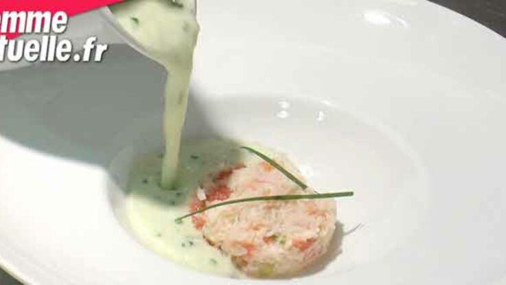 Soupe glacée de concombre, cocktail de crabe au wasabi
