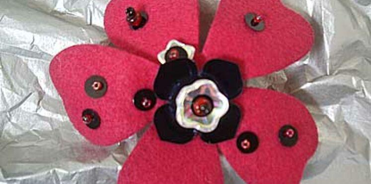 Une broche fleur  facile à réaliser