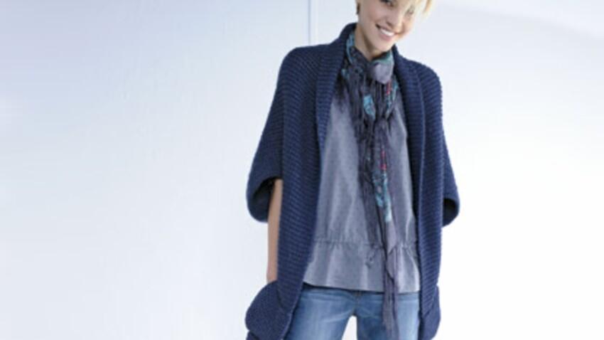 Craquez et tricotez une veste écharpe