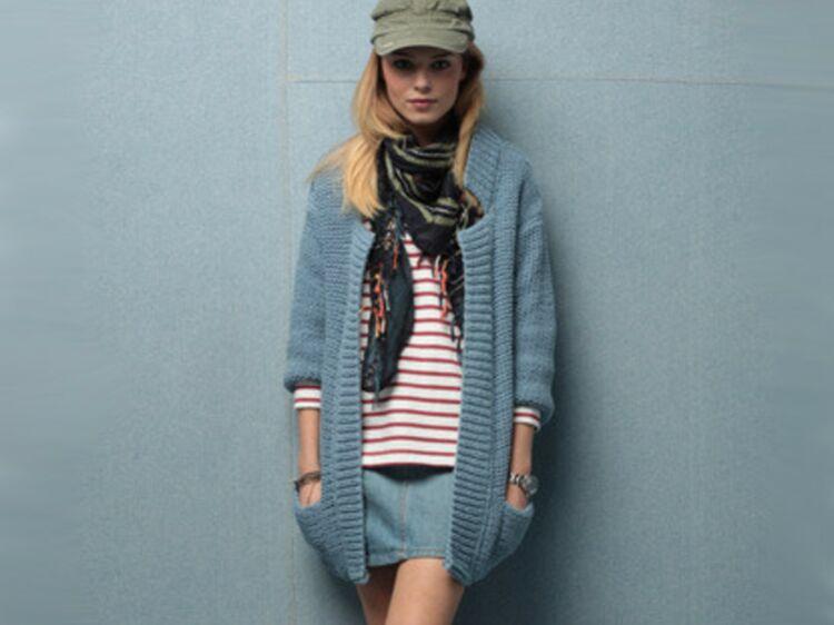 41218b209e3b Un long gilet à tricoter - Tailles et qualité   Femme Actuelle Le MAG