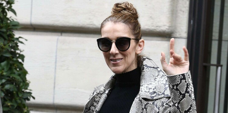 Photos - Céline Dion en manteau et cuissardes python assortis, elle remet ça !