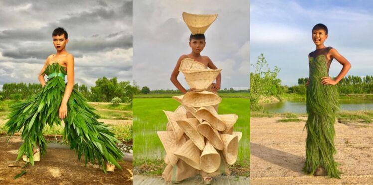 Une styliste fabrique des robes à partir de déchets et de produits de la nature