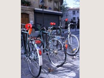 Des coquelicots sur les vélos parisiens