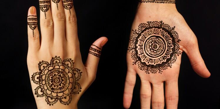 tatouages au henné noir : ils peuvent laisser des traces : femme