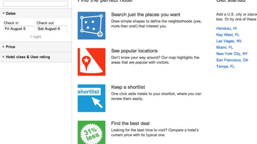 Un moteur de recherche d'hôtels sur Google