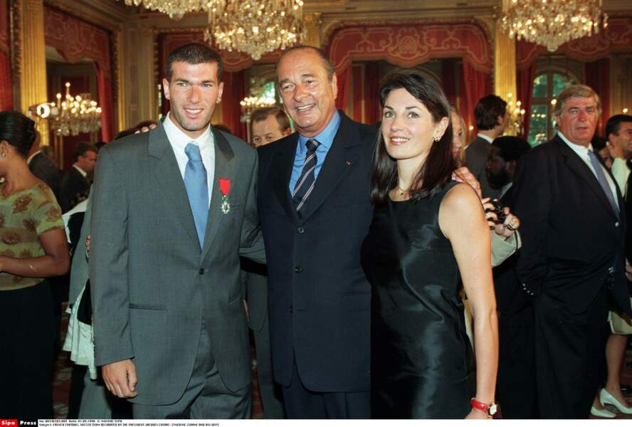 Jacques Chirac, Zinédine Zidane et sa femme Véronique : 1998