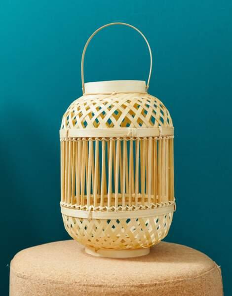 Pot de fleurs à suspendre en bambou tressé