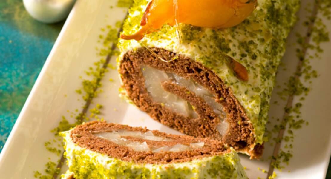 Bûche aux poires et pistaches