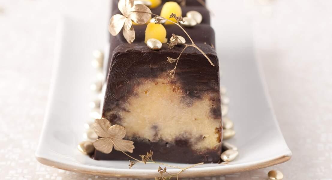 Bûche fondante au chocolat et à la mangue