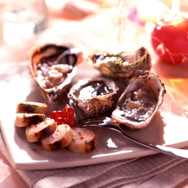Huîtres de Noël au boudin blanc