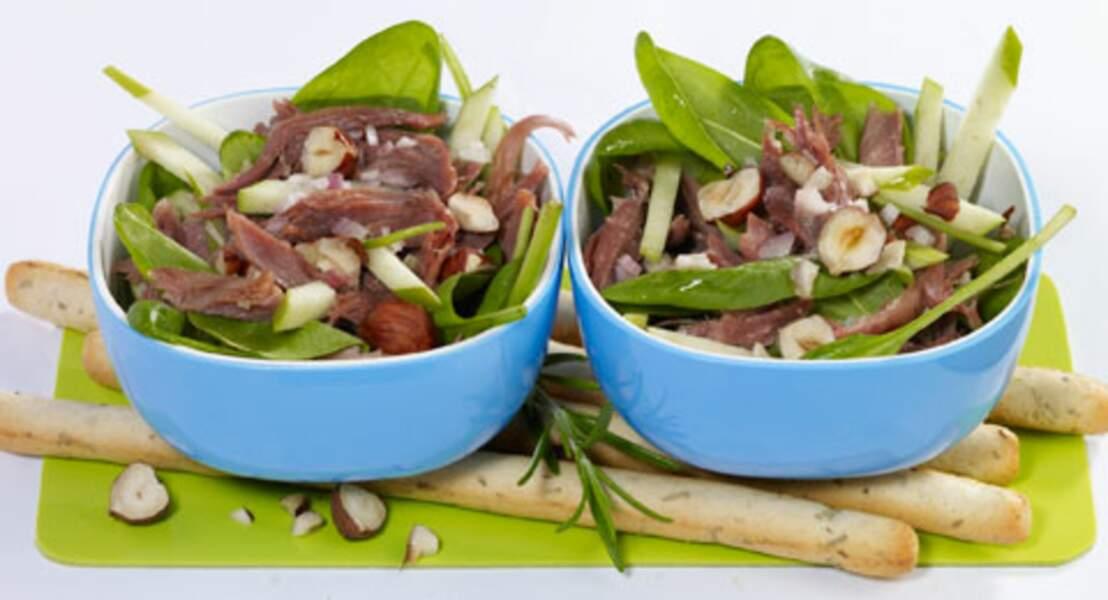 Salade de confit de canard aux épinards