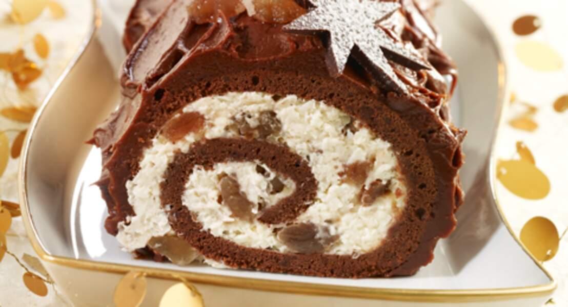 Bûche chocolat aux marrons glacés