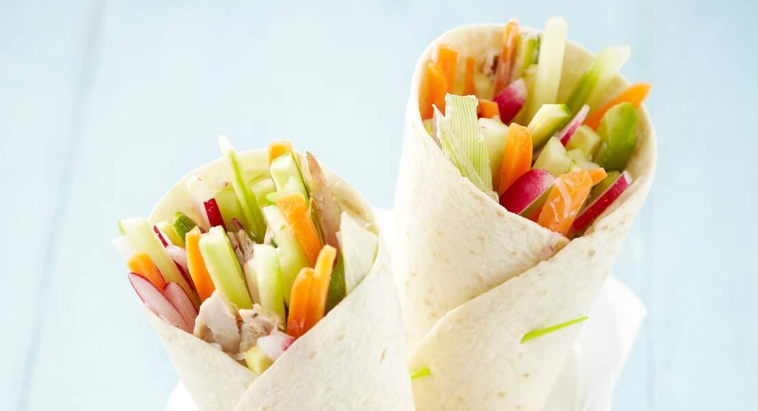 Wrap aux légumes crus