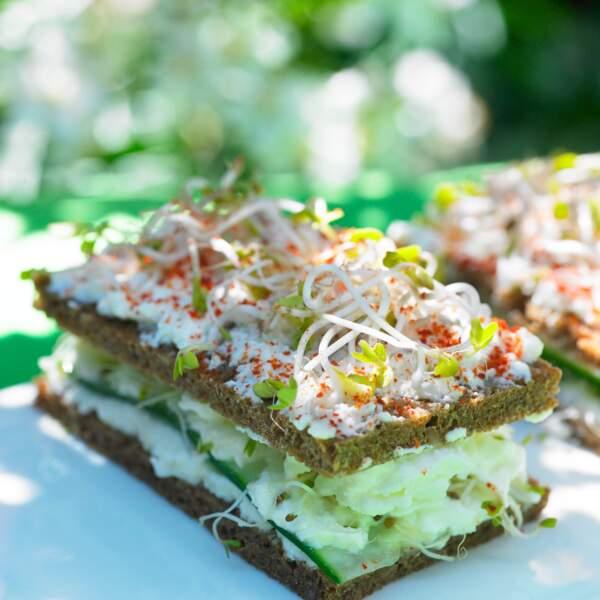 Sandwich végétarien aux graines germées