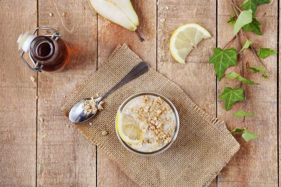Verrines au citron et aux poires