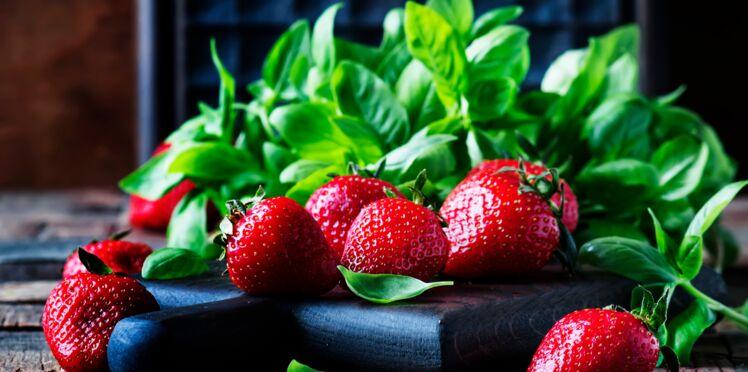 Salade fraise, mangue, basilic