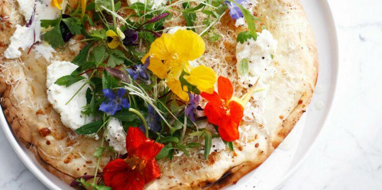 Pizza aux fromages et fleurs