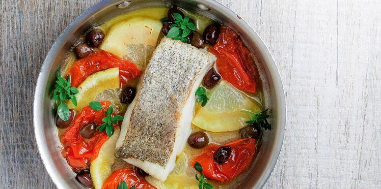 Lieu au plat, olive, citron, tomate, basilic