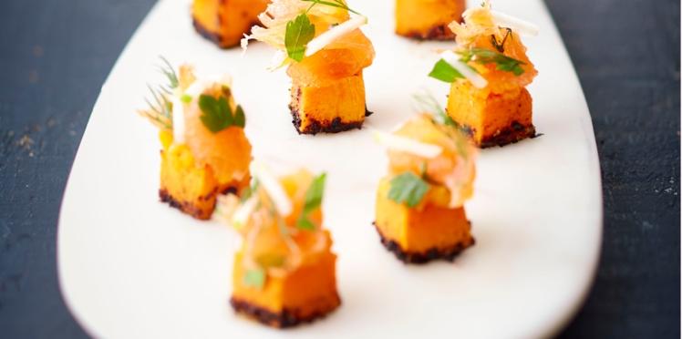 Cubes de butternuts et son saumon de Norvège gravlaks