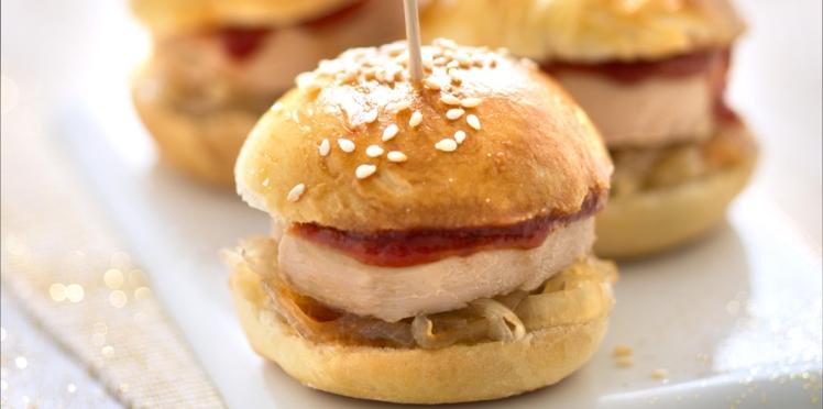 Mini-burgers au foie gras et oignons doux