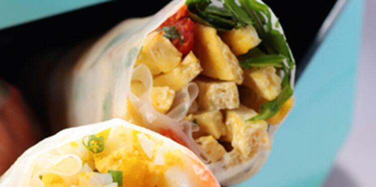 Rouleaux de printemps à l'omelette et petits légumes frais