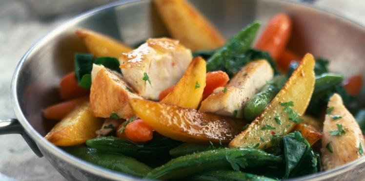 Wok de légumes au poulet