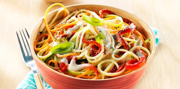 Spaghettis de légumes et sa délicieuse crème chèvre basilic