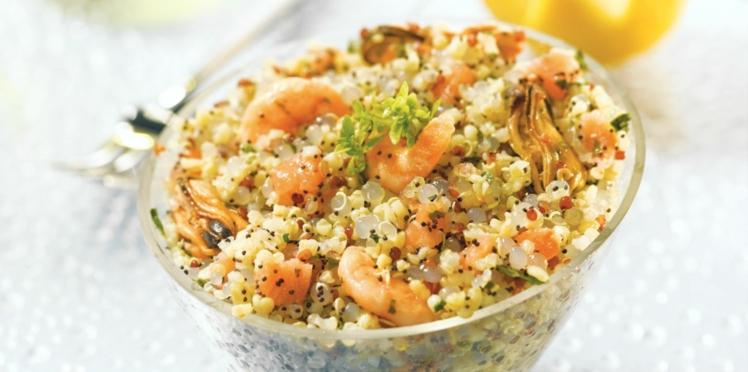 Salade océane au quinoa gourmand et perles du Japon