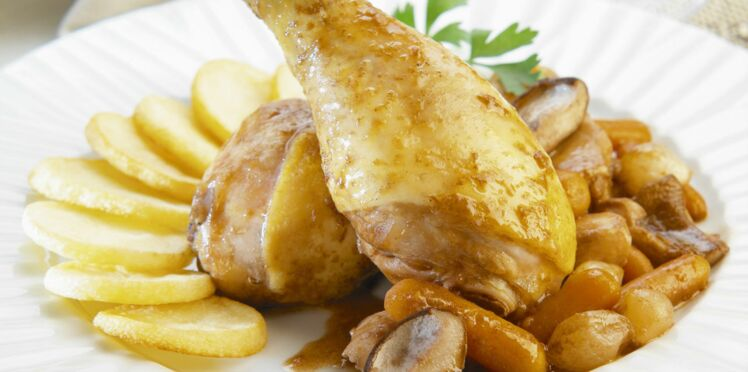 Pilons de poulet et confit de carottes et pommes de terre