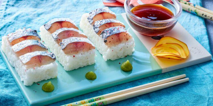Sushi pressé de maquereau au vin blanc